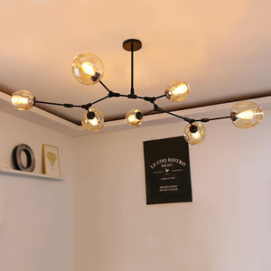 Image 5 - Nordic Industrial Style LED Ceiling Lights Glass Ceiling Lamp Restaurant Hanging Lamp Living Room Lamp Bedroom Cafe