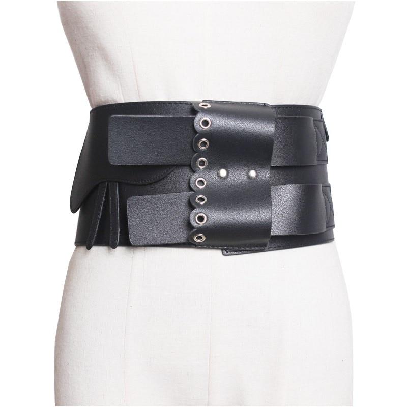 Fashion Female Woman PU Belt Zipper Cummerbund Wide Women's Belts Punk Rivet Fashion Dress Waistbands Lady Runway Design Belt