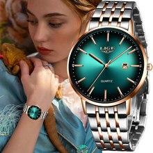 LIGE – montre de luxe pour femmes, étanche, Bracelet en acier or Rose, de marque supérieure