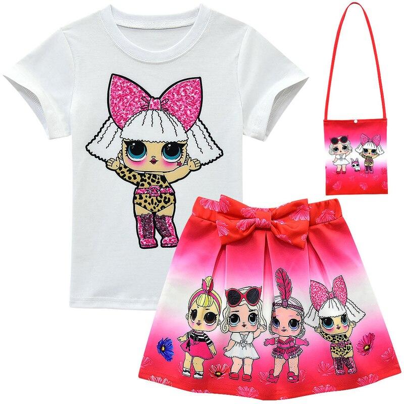 Conjuntos de roupas para meninas do bebê 2020 verão lol boneca manga curta topo + arco dos desenhos animados imprimir saia + saco 3 peças crianças terno