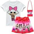 Комплекты одежды для маленьких девочек 2020, летний топ с коротким рукавом Lol Doll + юбка с бантом и мультяшным принтом + сумка, комплект детской о...