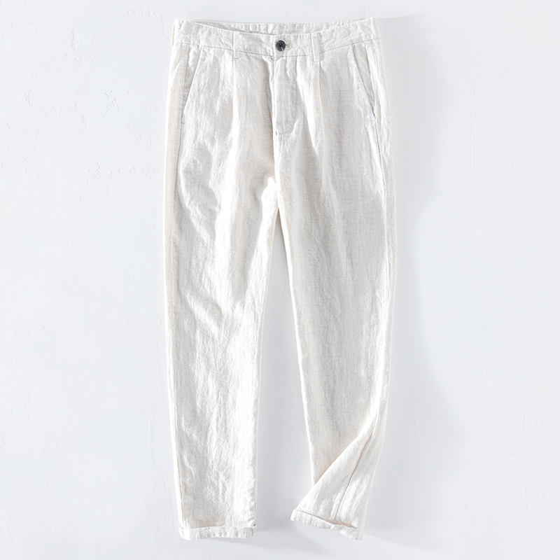 2020 Spring New Ankle-length Pants Men 100% Pure Linen Casual Trousers Plus Size High Quality Brand Clothing Y2543