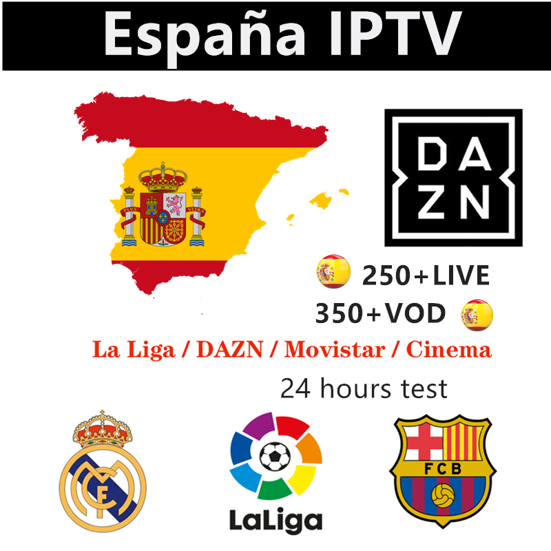 Europe IPTV Spain M3u  Subscription Espana Spanish 4K DAZN Movistar Sport Cinema Box Adult  For Smart TV Box Android 9.0 X96 Max