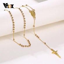 Vnox длинные четки ожерелья для женщин бусы цепи католический