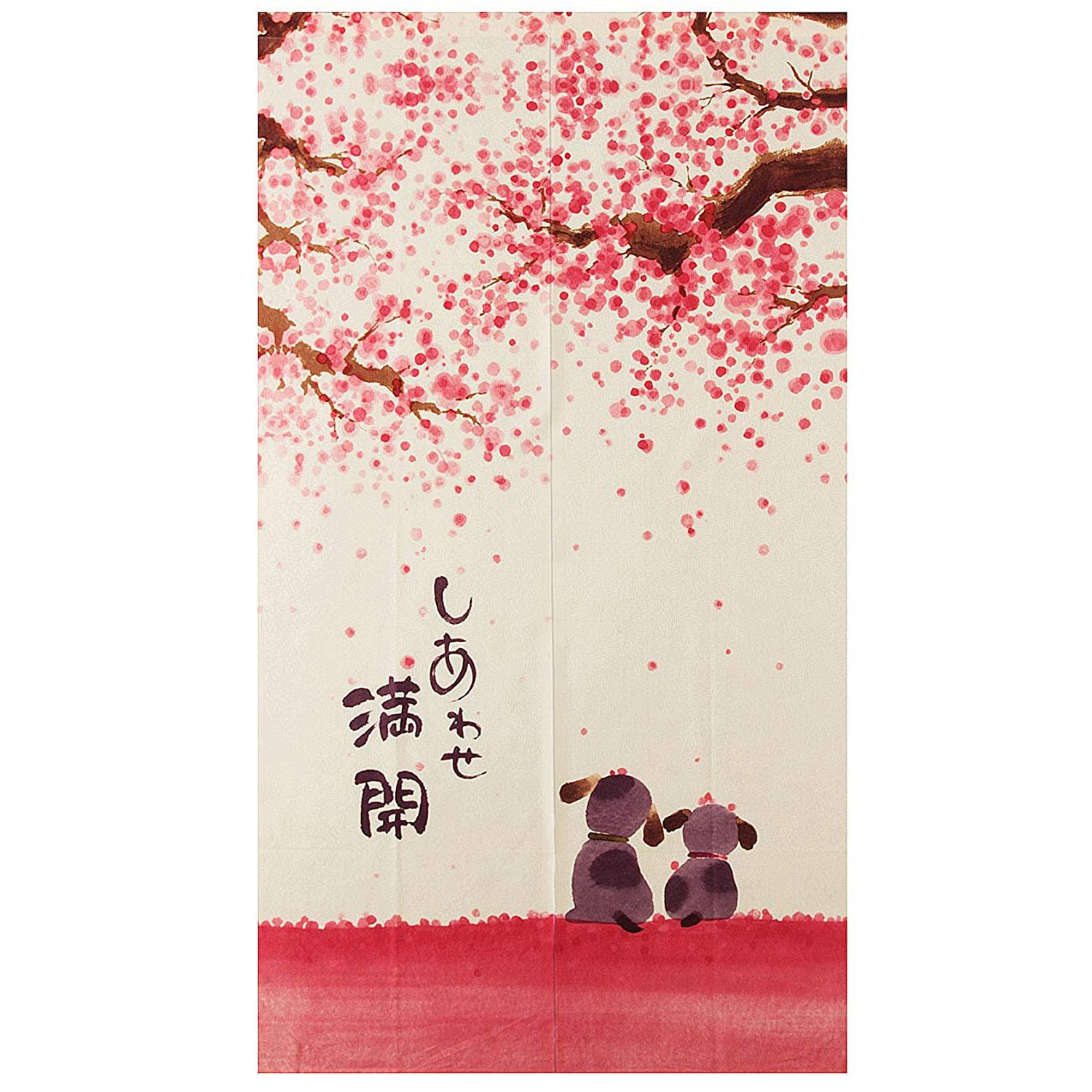 Japanese Style Doorway Curtain 85X150Cm Happy Dogs Cherry Blossom