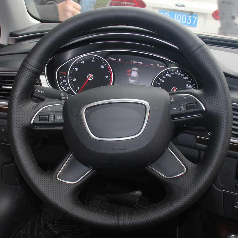 DIY araba direksiyon kılıfı Volant Funda Volante süet Audi A4 (B8) A6 (C7) a7 A8 A8 L Allroad Q3 Q5 2013-2017 Q7 2012-2015