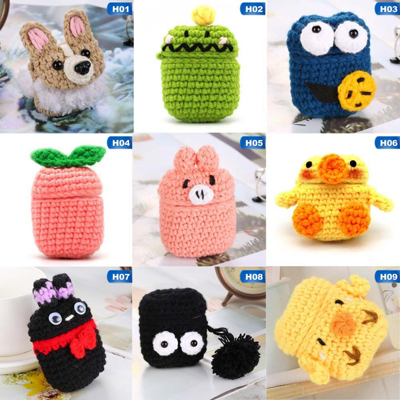 Cartoon Protective Knitted Case Skin Sweater Cover Silicone Headset Box Knitting Wool Earphone Cover Contains Silicone Case