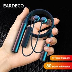 EARDECO 80 heures Endurance Bluetooth casque basse sans fil casque avec micro stéréo tour de cou écouteurs Sport casque TF carte