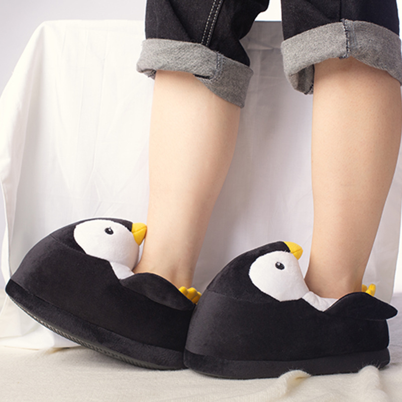 Suihyung Kids Cartoon Plush Slippers Winter Warm Non-slip Indoor Floor Shoes Home Slippers Soft  Boys Girls Penguin Cotton Shoes