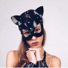 Produkty erotyczne dla dorosłych SM Sex zabawki bdsm kobiety skórzana maska na oczy i kołnierz Catwoman Cosplay maska dla dorosłych gra Masquerade maska imprezowa tanie tanio NoEnName_Null WOMEN Eye mask Skóra syntetyczna Metal sex toys for women