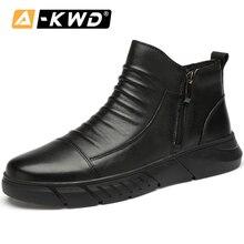 Модная обувь; коллекция года; черные ботинки на молнии; мужские теплые сапоги со стальным носком из натуральной кожи на меху; дышащие красивые Мужские модельные ботинки