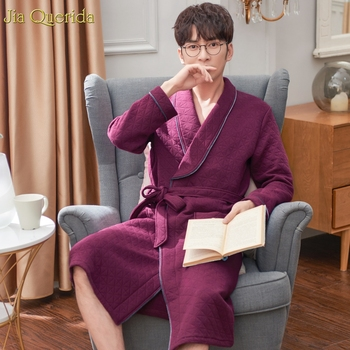 Cotton Robe Men Bath Robes Long Sleeve Winter Kimono Elegant Mens Night Dressing Gown Plus Size Embossing Pattern Mens Bathrobe