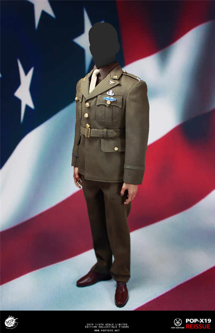 WWII 1//6 Captain Uniform Golden Age US Army Officer Costume POPTOYS X19A Model