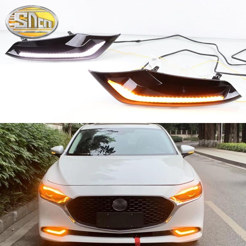 2PCS For Mazda 3 Axela 2019 2020 Dynamic Turn Yellow Signal Function 12V ABS Waterproof Car DRL Lamp LED Daytime Running Light