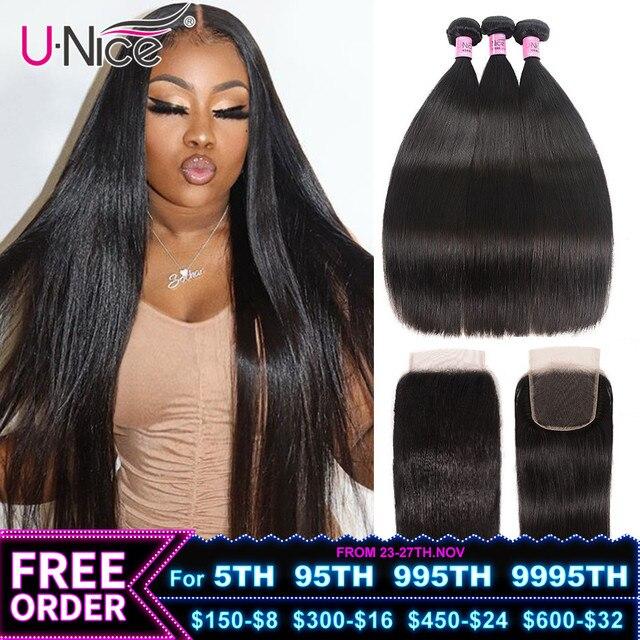 Unice髪5X5 hdレース閉鎖28 30インチペルーストレートヘア3バンドル4個4 × 4スイスレース人間の髪織りレミーヘアー