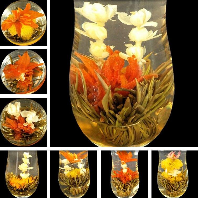 16 Pieces Blooming Tea 2020 Different Flower Handmade Flower Tea Chinese Flowering Balls Herbal Crafts Flowers Gift Packing