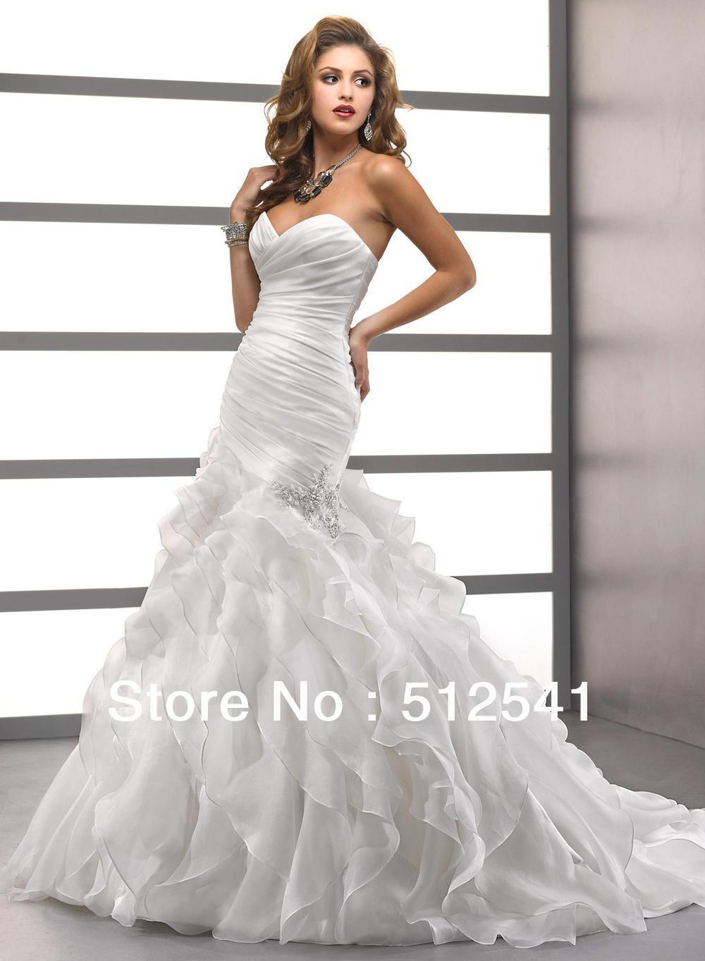 Wow Hot Ruffle Ivory Vestido De Noiva Sweetheart Mermaid Trumpet Wedding Dresses 2018 Sweep Train Beaded Organza Bridal Gowns