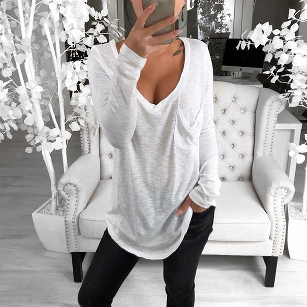 Autumn and spring new style Women 39 s long sleeve bottoming shirt Sexy V neck loose pocket casual long sleeved T shirt in T Shirts from Women 39 s Clothing