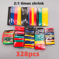 328pcs Set Polyolefin Shrinking Assorted Heat Shrink Tube Wire Cable Insulated Sleeving Tubing Set 2:1Waterproof pipe sleeve