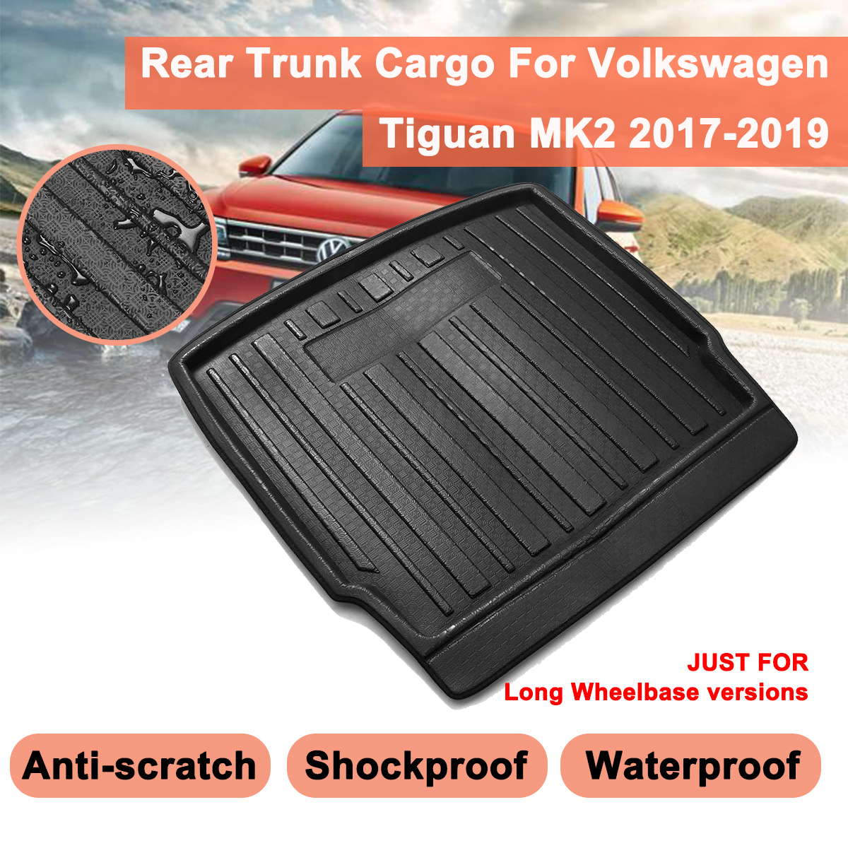Car Cargo Liner Boot Tray For Volkswagen For VW Tiguan MK2 2017 2018 2019 Rear Trunk Cover Matt Mat Floor Carpet Kick Pad|  - title=