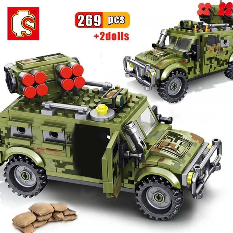 Sembo 269 pçs militar tigre assalto veículo blocos de construção do exército ww2 soldado figuras arma crianças brinquedos caminhão veículo tijolos