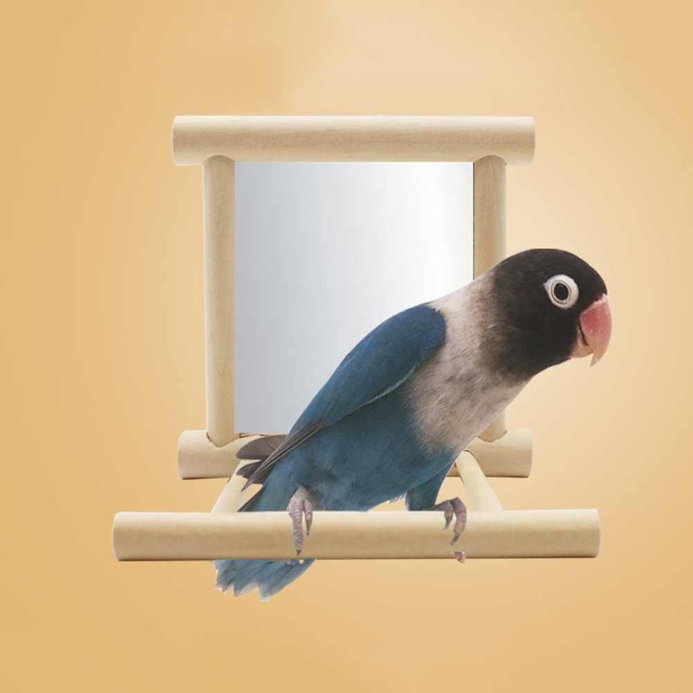 Engraçado de madeira pássaro brinquedo espelho diversão brinquedos para papagaios cockatiel vogel speelgoed pequenos pássaros papagaio brinquedos de brinquedo para animais de estimação acessórios