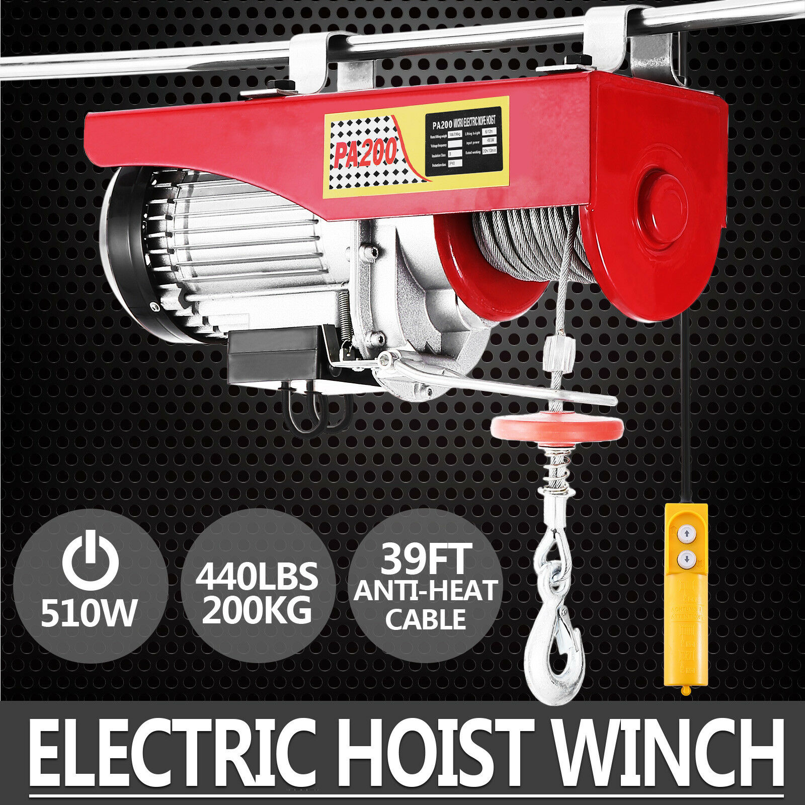 Scaffold Winch Lifting Crane Ceiling Pulley Wire Rope 200KG Electric Hoist