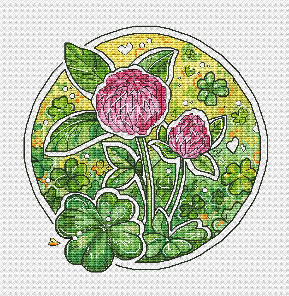 HH Gold Collection Counted Cross Stitch Kit Cross stitch RS cotton with cross stitch <font><b>Merejka</b></font> Clover Lucky Grass image