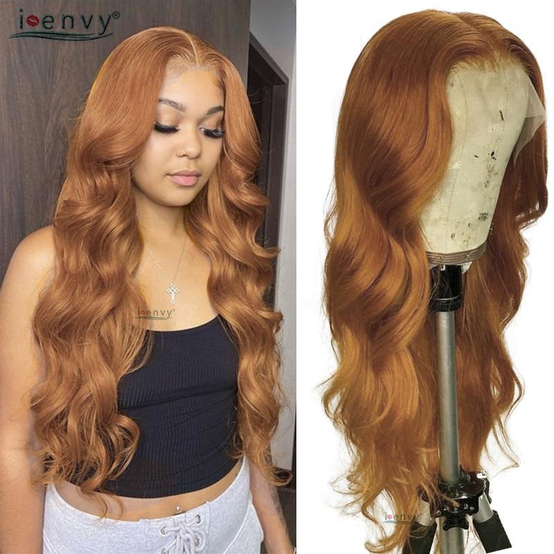 Rubia resaltar frente de encaje pelucas de cabello humano de la onda del cuerpo transparente pelucas delanteras de encaje peruano naranja jengibre malla con división pelucas Remy 180