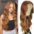 Парики из натуральных волос на кружевной основе, волнистые, прозрачные, перуанские, Имбирные, оранжевые, кружевные парики Remy 180