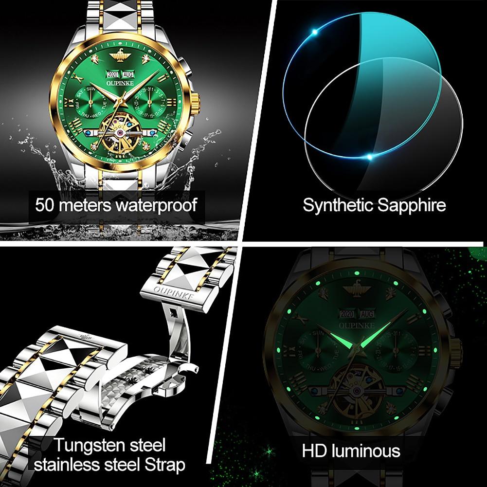 Top Luxury Brand Automatic Watch Men Mechanical Tourbillon Sapphire Tungsten Steel Waterproof Wrist Watches Relogio Masculino 3