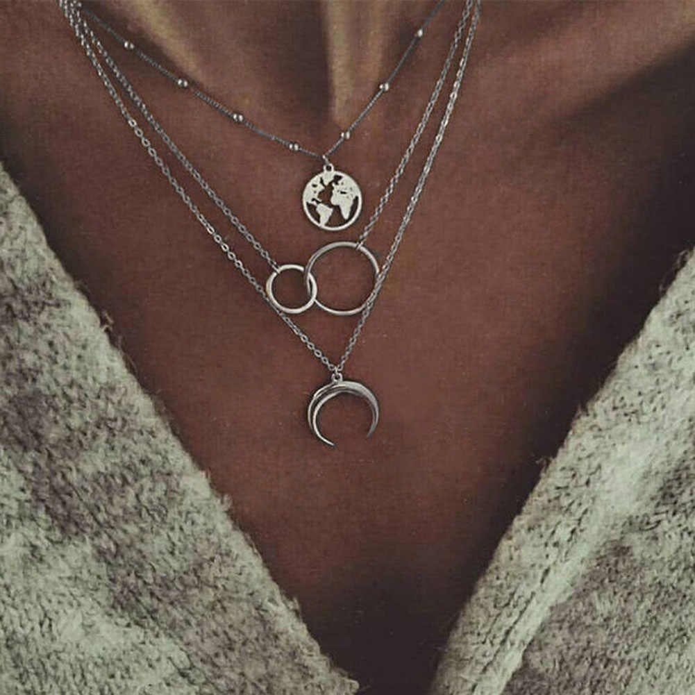 Fashion Beauty Women  Boho Retro Moon World Map Circle Multilayer Silver Necklace Charm Jewelry fit Ladies Pendant Lovers Gifts