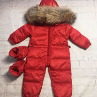 Newborn Baby Winter Romper Overalls Real Fur Collar Infant Clothes Duck Down Warm Jumpsuit Toddler Girl Snowsuit TX336