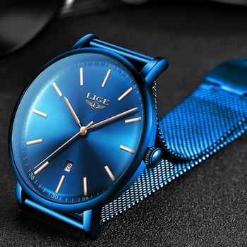 Часы наручные LIGE женские кварцевые, брендовые Роскошные водонепроницаемые Модные ультратонкие повседневные, из нержавеющей стали