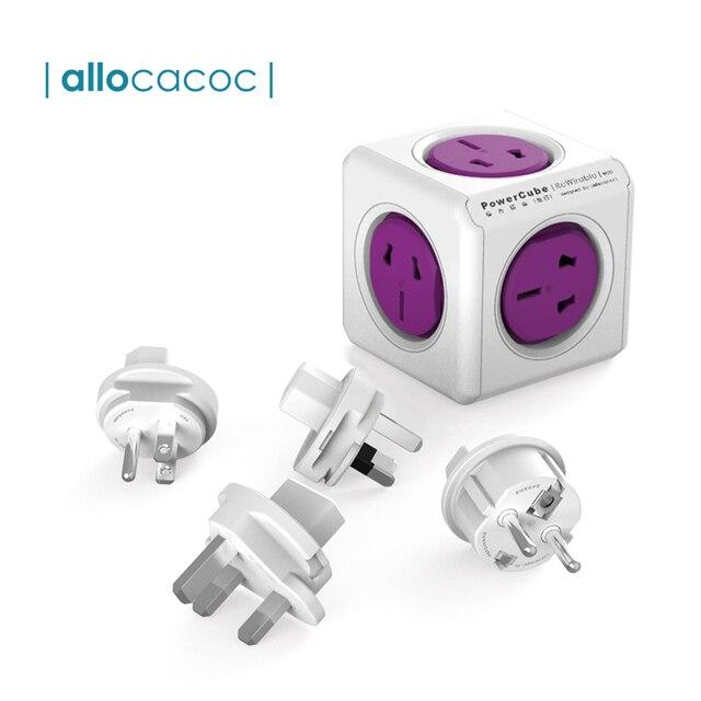 "Allocacoc Powercube בינלאומי נסיעות מתאם אוניברסלי רב תקע חשמלי כוח רצועת שקע USB מטען עבור בריטניה האיחוד האירופי AU ארה""ב"