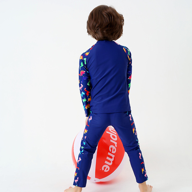 CHILDREN'S Swimwear Boy Large Children Split Type Long Sleeve Sun-resistant Quick-Dry Waterproof Mother Trousers Cartoon Dinosau