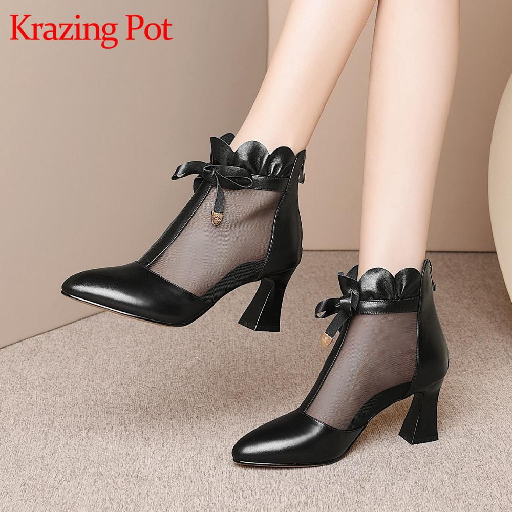 Krazing pot breathable cow leather air mesh zip pointed toe high heels ruffles butterfly-kont sunscreen ankle summer boots L00