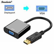 Bundwin dp para vga displayport expositor porto macho para fêmea conversor adaptador cabo para computador portátil computador hdtv monitor projetor