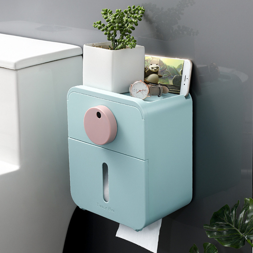 Wall-mounted Non-perforated Installation Bathroom Tissue Holder Multi-purpose Paper Towel Storage Box Drawers Bathroom Supplies