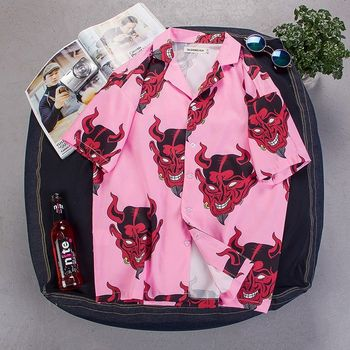 цена на camisa hombre women shirt Floral print Button Shirt Short Sleeve streetwear Devil Shirts Hawaiian shirt men hip Hop tops mujer