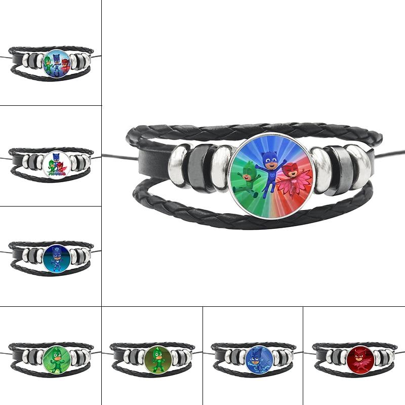 PJ MASK Juguete Time Gem Black Leather Bracelet For Couples Catboy Owlette Gekko PJ Masks Figures Pareja Pulsera Gifts S79