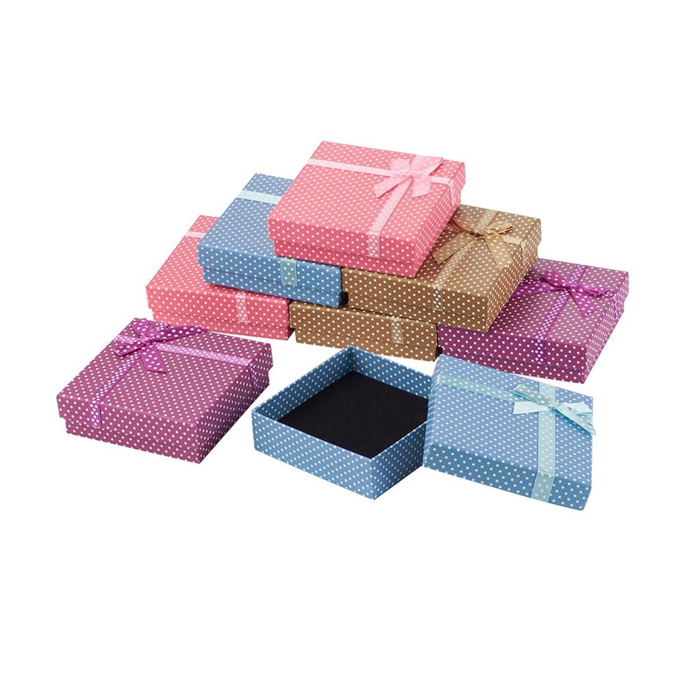 12pcs Jewelry Set Boxes 9x9x3cm Square Gift Box With Sponge For Necklaces, Earrings And Rings Packaging Mixed Colors