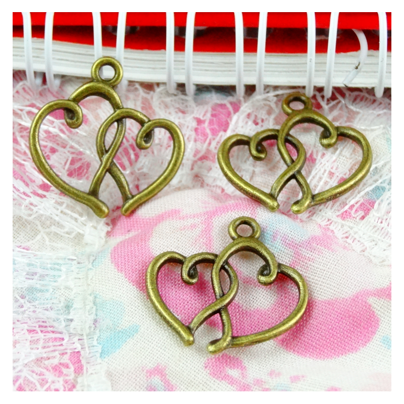 100pcs Charms Double Heart 19x16mm Antique Making Pendant fit,Vintage Bronze color,DIY Handmade Jewelry image
