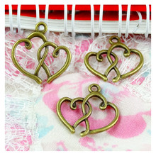 100pcs Charms Double Heart 19x16mm Antique Making Pendant fit,Vintage Bronze color,DIY Handmade Jewelry
