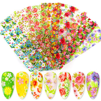 10 Pcs Rose Flowers Nail Foils Tropical Leaves Colorful Nail Decals Transfer Decorations Sets for Manicuring DIY Sticker Slide 14