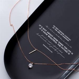 Image 4 - WANTME Fashion Echtes 100% 925 Sterling Silber Doppel Kreuz Seil Schlüsselbein Kette Runde Kristall Zirkon Anhänger Halskette Frauen