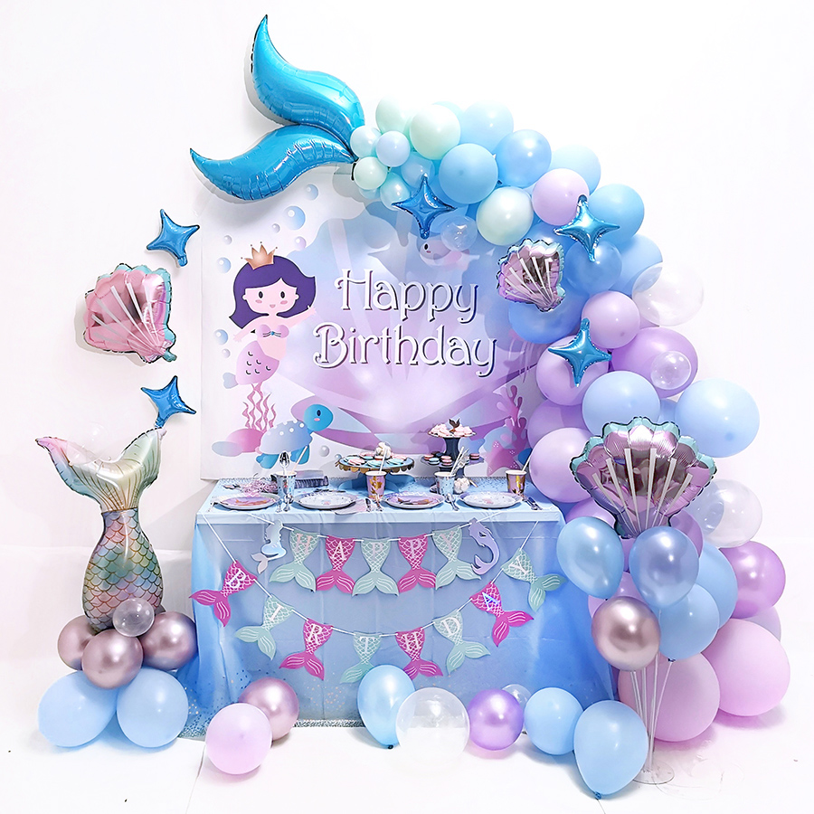 Mermaid Tail Balloon Garland Little Mermaid Ballon Happy Birthday Party Decor Kids Balon Under the Sea Girl 1st Mermaid Birthday