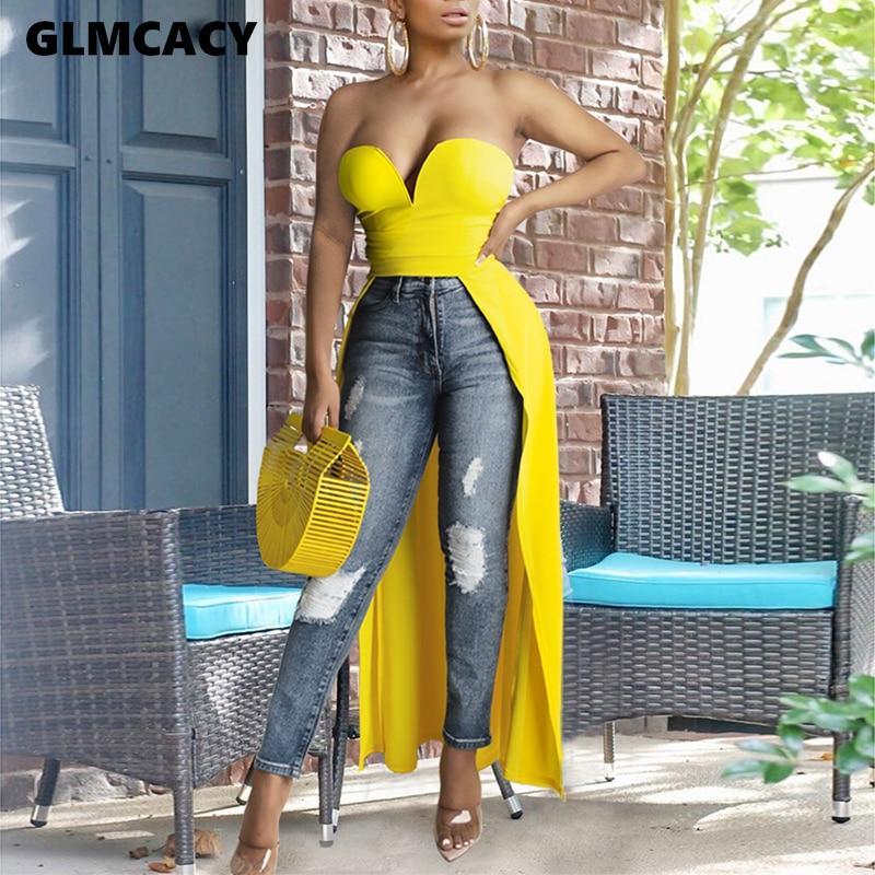 Women Sleeveless Top Blouse Solid Slim Dip Hem Long Style Backless Chic Streetwear Fashion Blouse