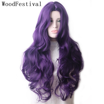 WoodFestival Wavy Purple Colored Synthetic Wigs For Women Heat Resistant Female Ombre Green Pink Red Blue Blonde Long Hair Wig - discount item  49% OFF Synthetic Hair