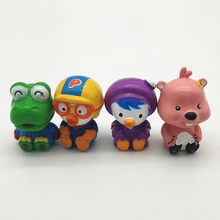 2/4Pcs Animation Figurine Pororo Figures Original Toys Set Pvc Cartoon Model Figure Toy(China)